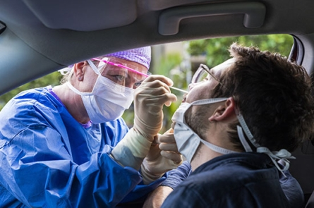 Drive through COVID-19 nasal swab test